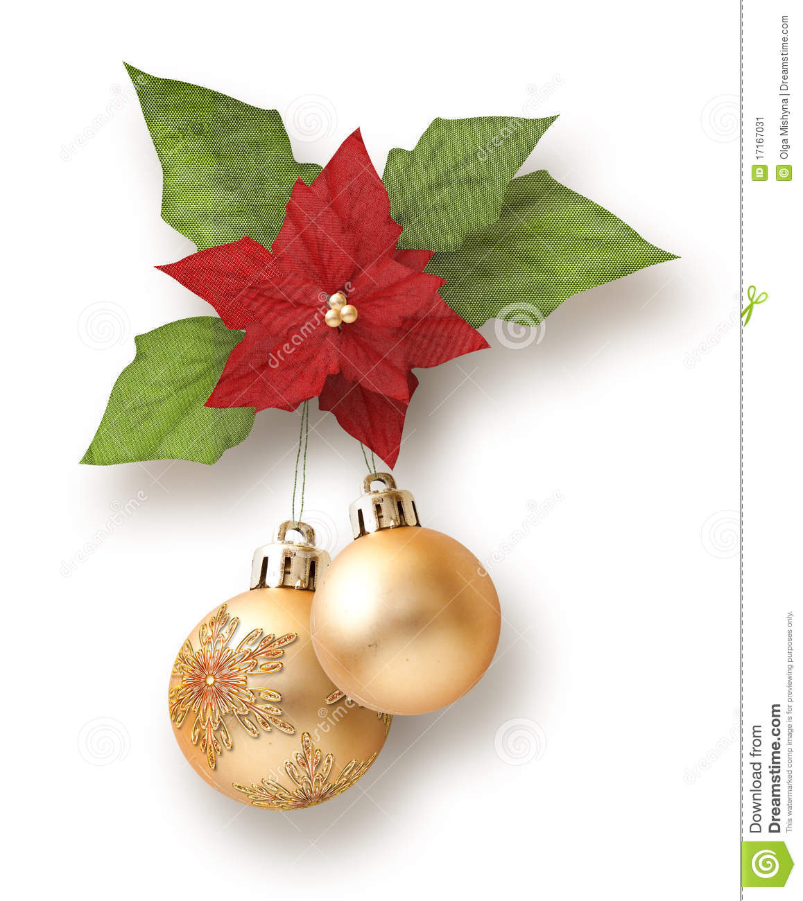 Christmas Garland From Balls With Poinsettia Stock Image - Image ...