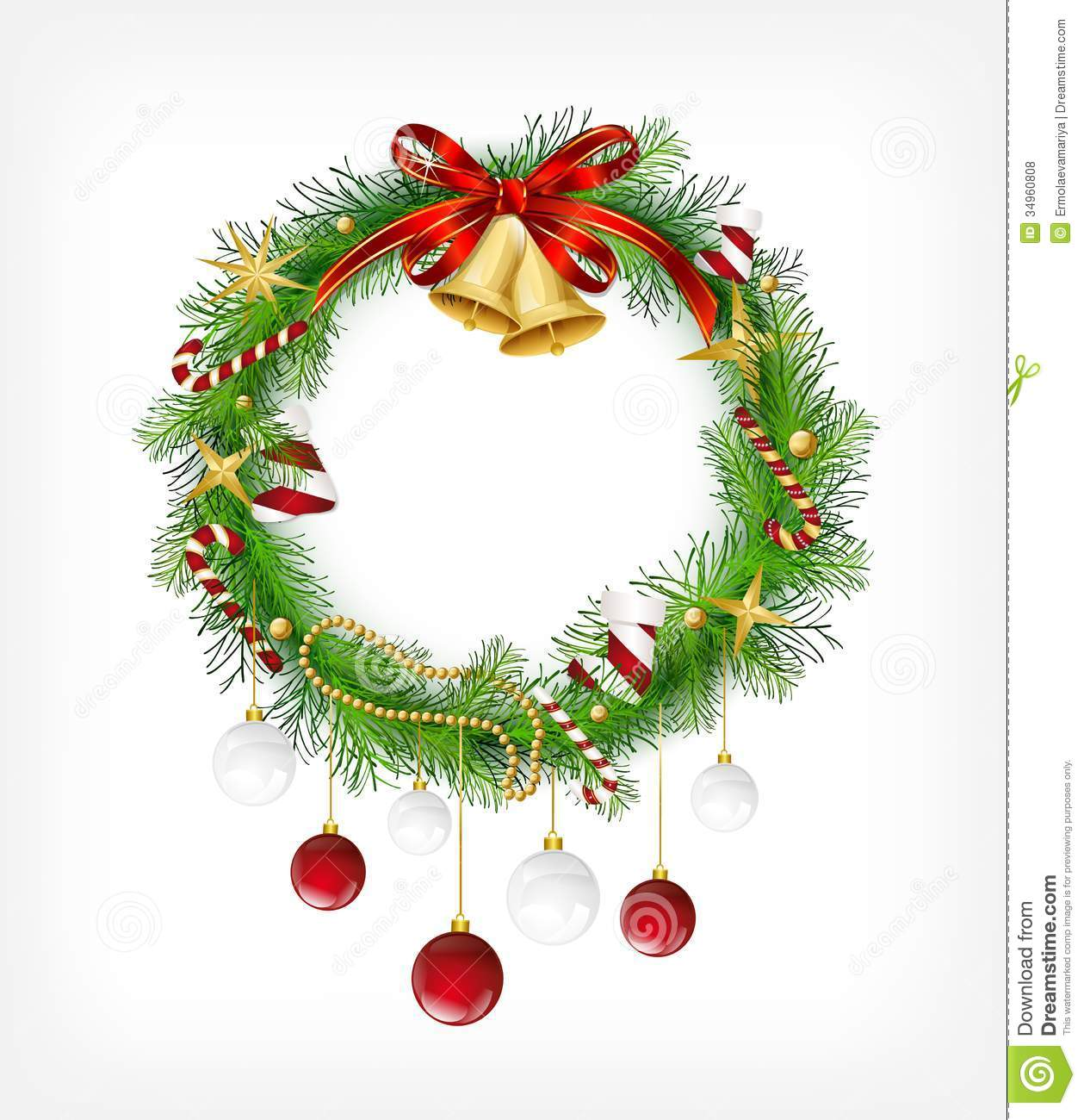 Christmas garland with bells and holly berry royalty free
