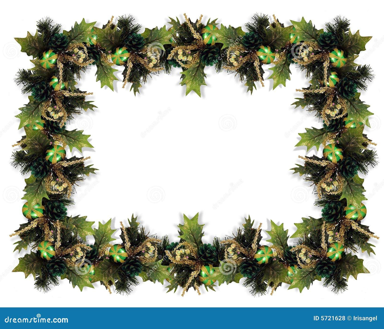Christmas garland border green stock illustration image