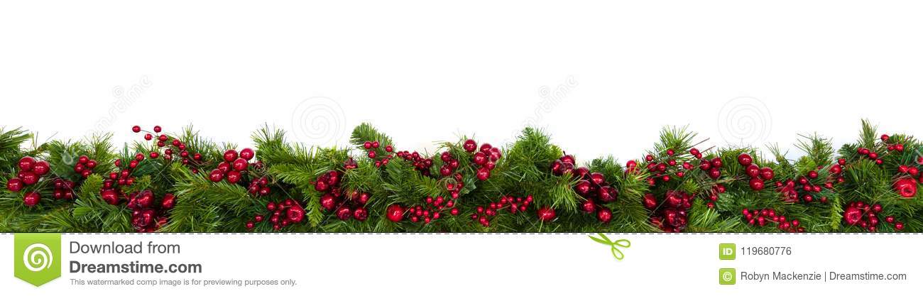 Christmas Garland Border With Red Berries Over White Stock