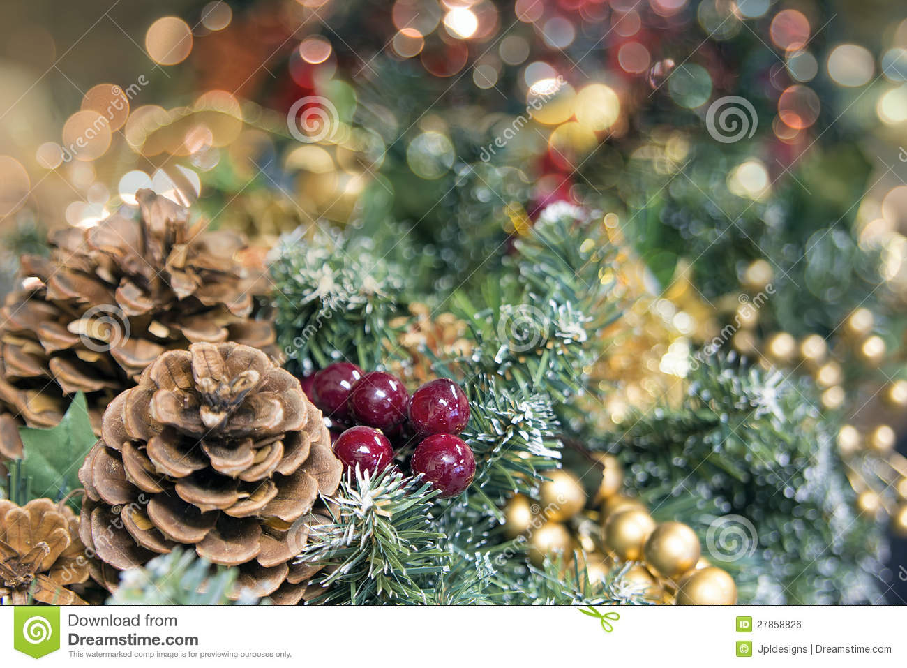 Christmas garlands decorations - Christmas Garland Decoration With Blurred Lights Royalty Free Stock Image Christmas Garland Decoration With Blurred