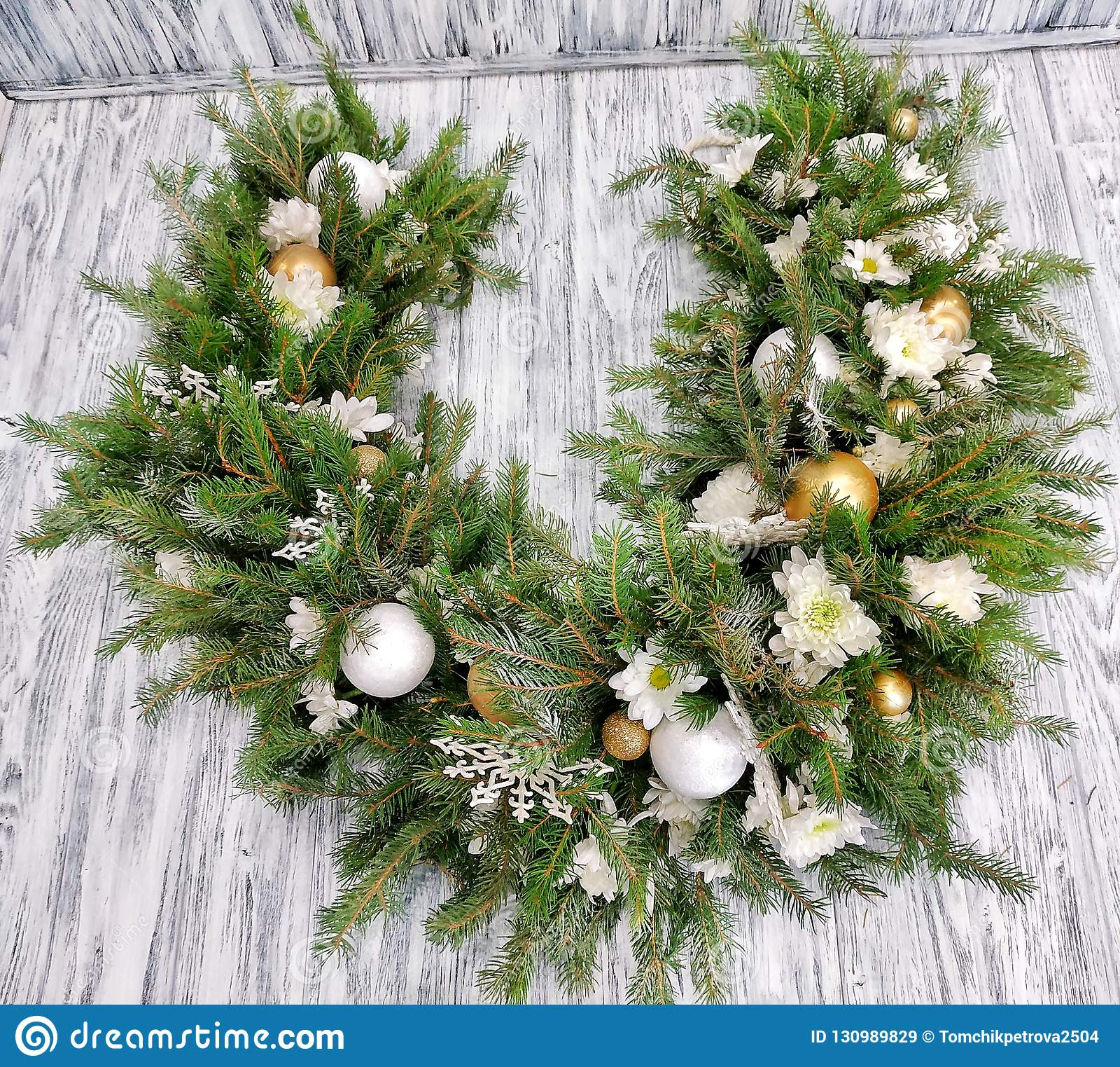 Christmas Garland Design With Fir Branches And New Year S Decor