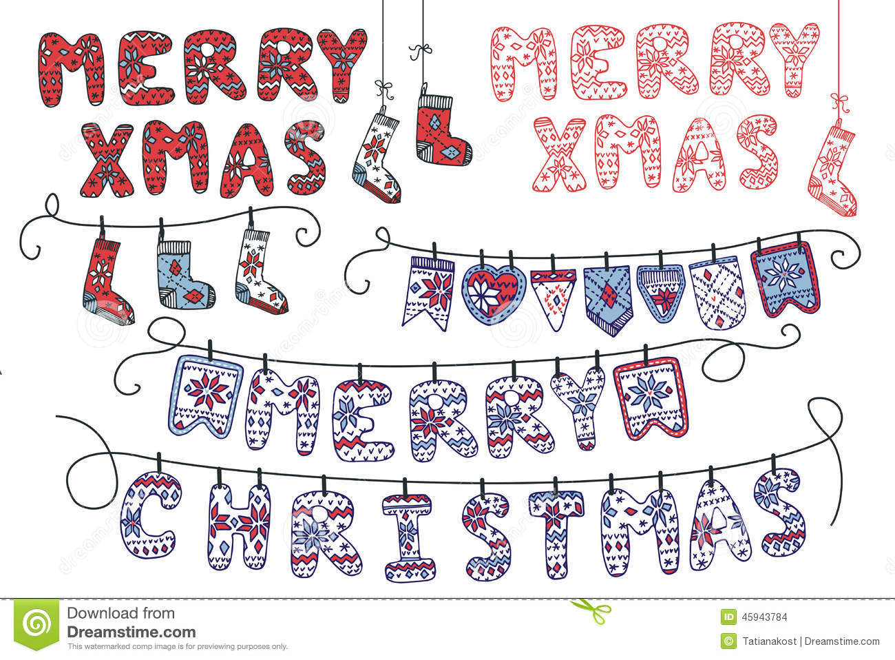 Knitting Letters Template : Christmas garland of knitted letters flags socks stock