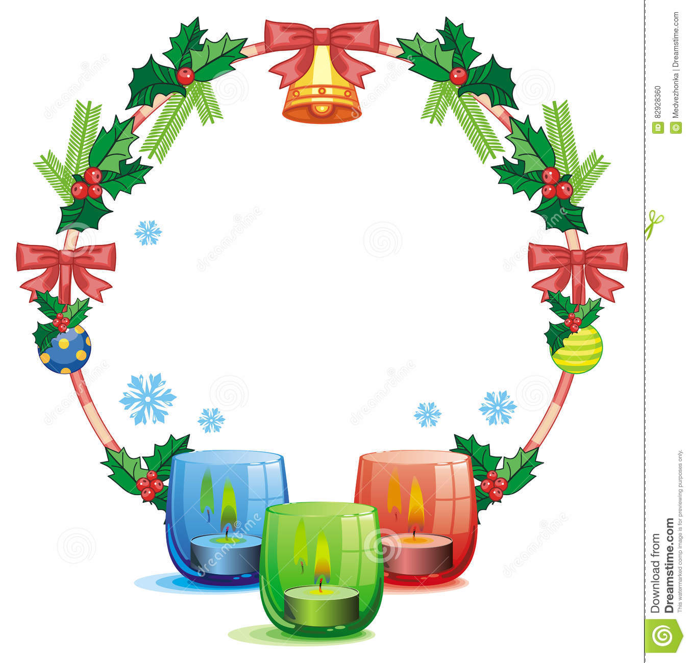 Christmas Garland And Lighted Candle Raster Clip Art Stock