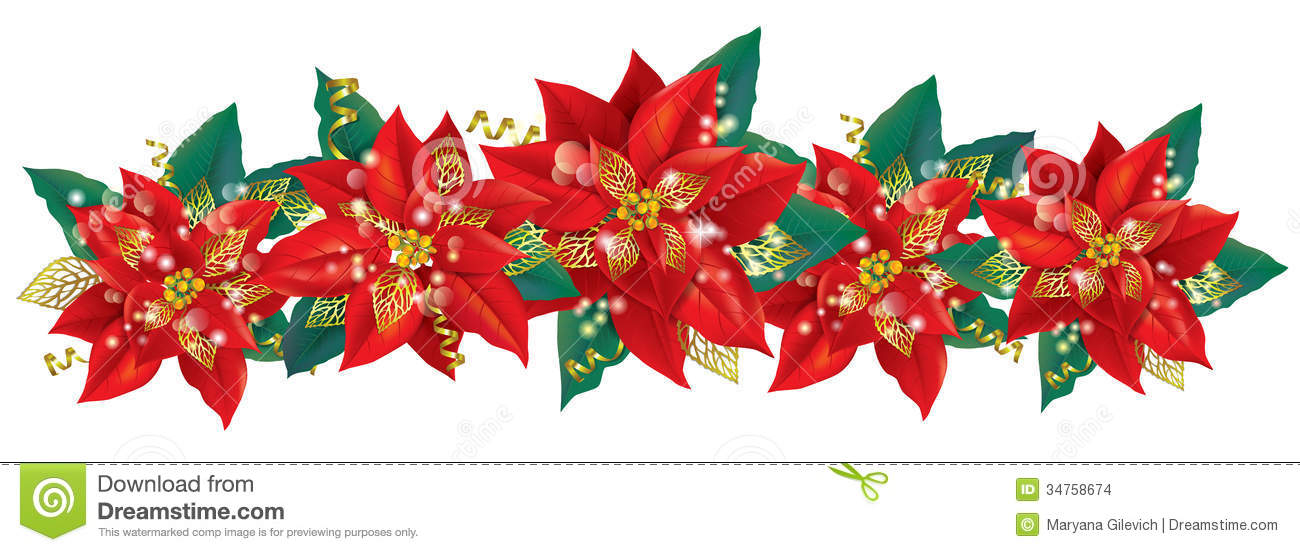 christmas garland of poinsettia stock photo image 34758674. Black Bedroom Furniture Sets. Home Design Ideas