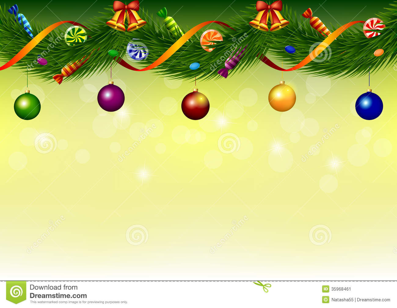 Christmas Garland With Sweets Bells And Balls Stock