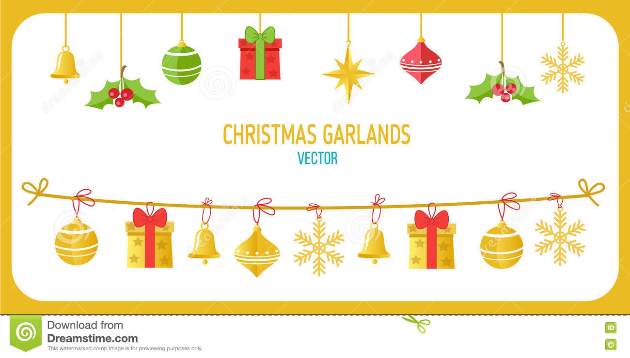 christmas garland vector in gold color winter holidays vector clip art on white background