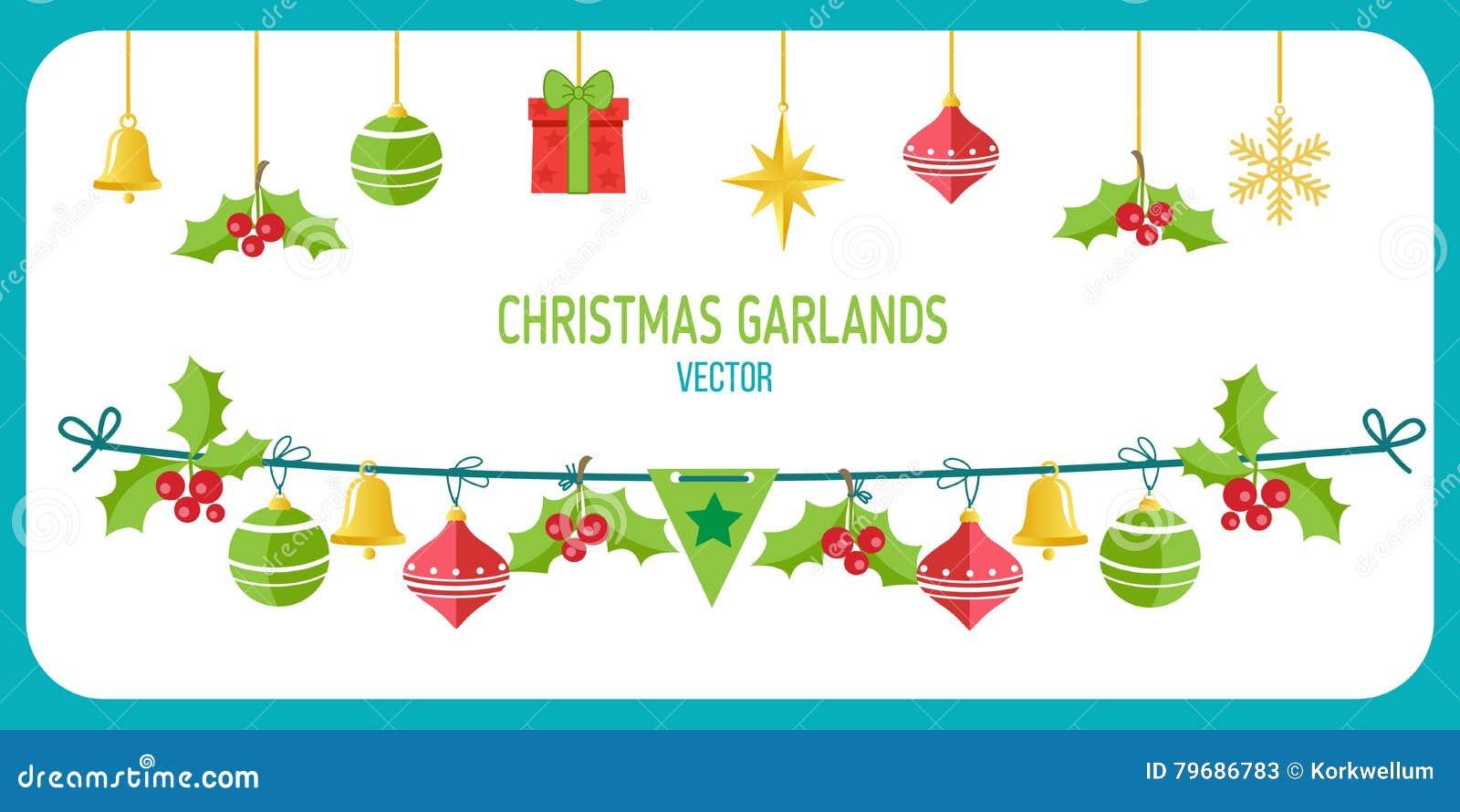Christmas Garland Vector Winter Holidays Vector Clip Art On White