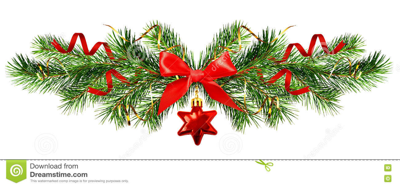 Download Christmas Garlands With Stars And Red Decorations Stock Photo Image Of Evergreen Serpentine