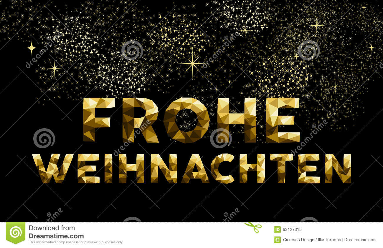 christmas german frohe weihnachten low poly gold stock vector   image 63127315