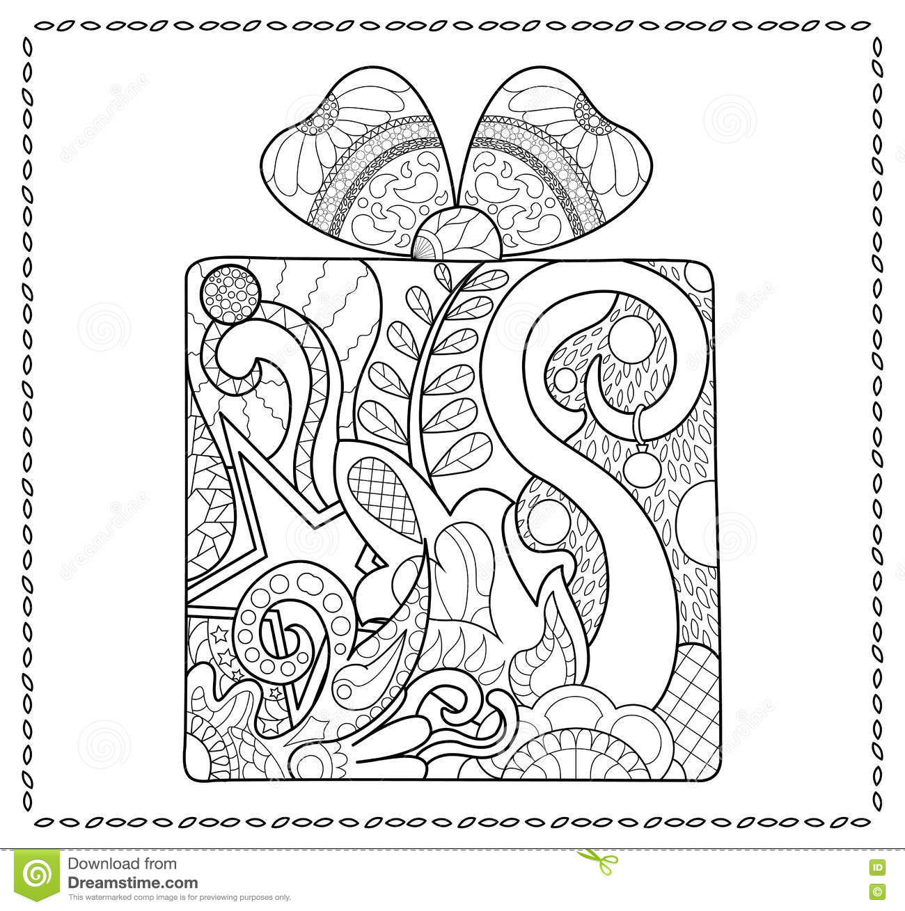 Christmas Gift Adult Coloring Page New Year Present For