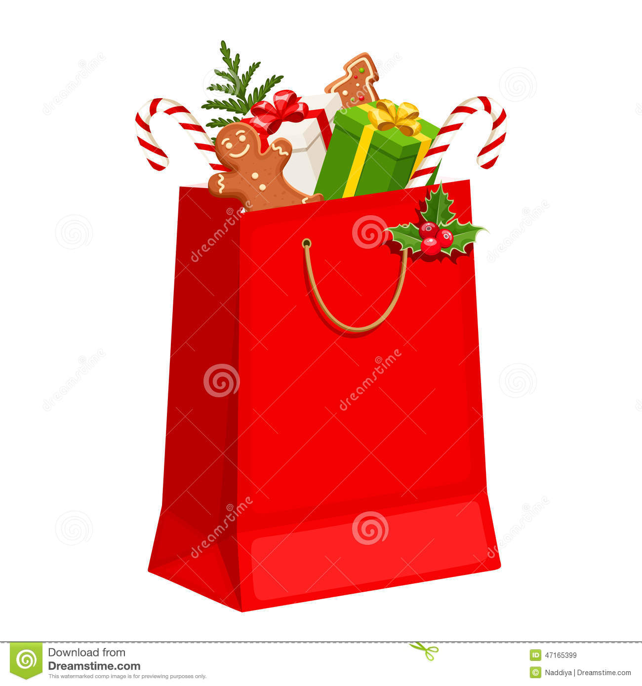 christmas gift bag vector illustration
