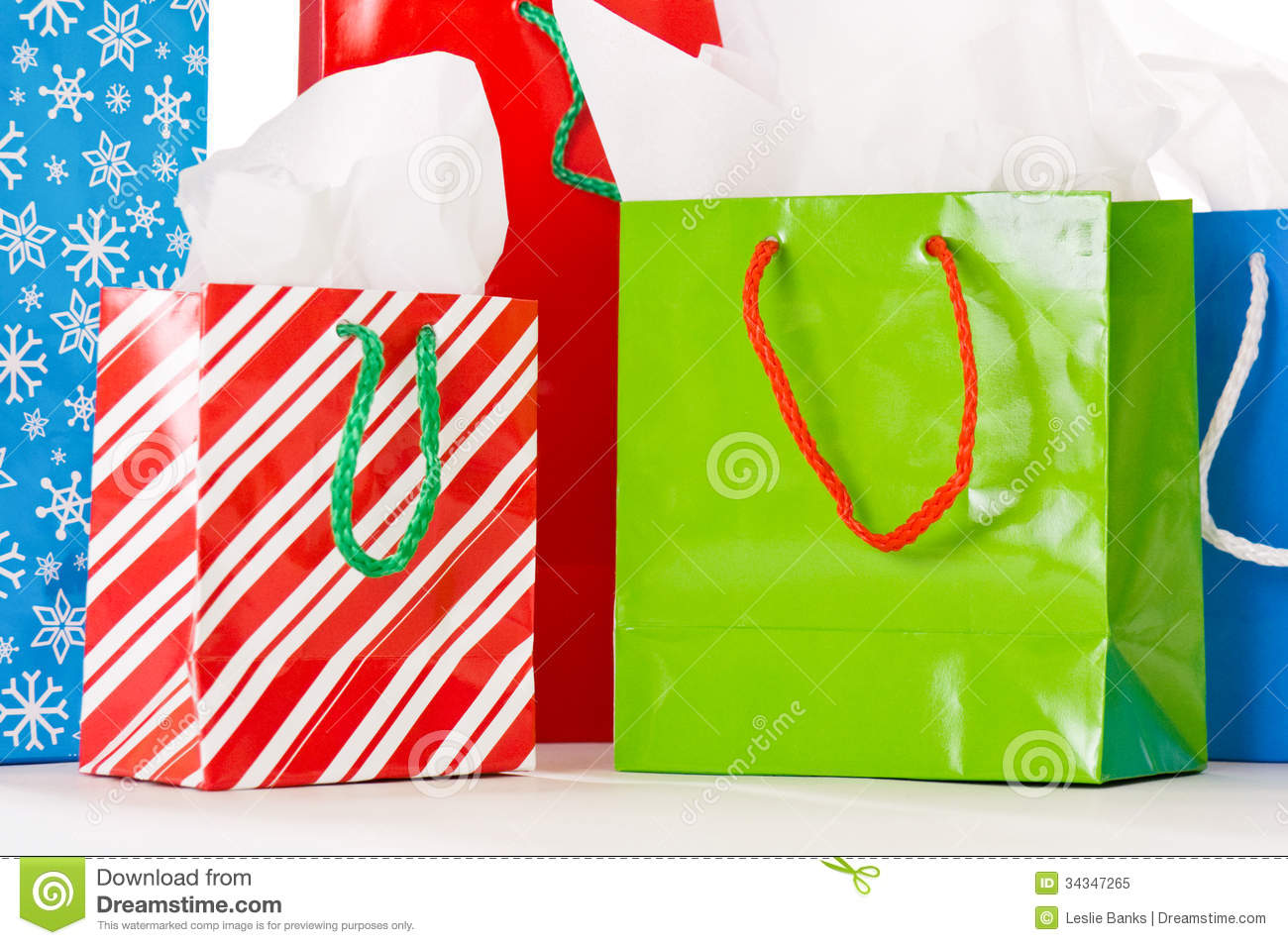 Christmas Gift Bags Stock Image Of Tissue