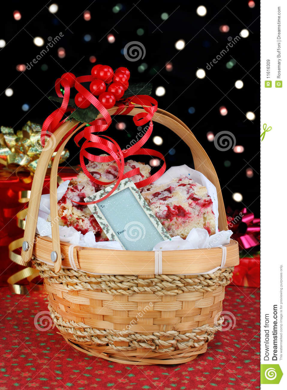 Christmas gift basket of cookies royalty free stock