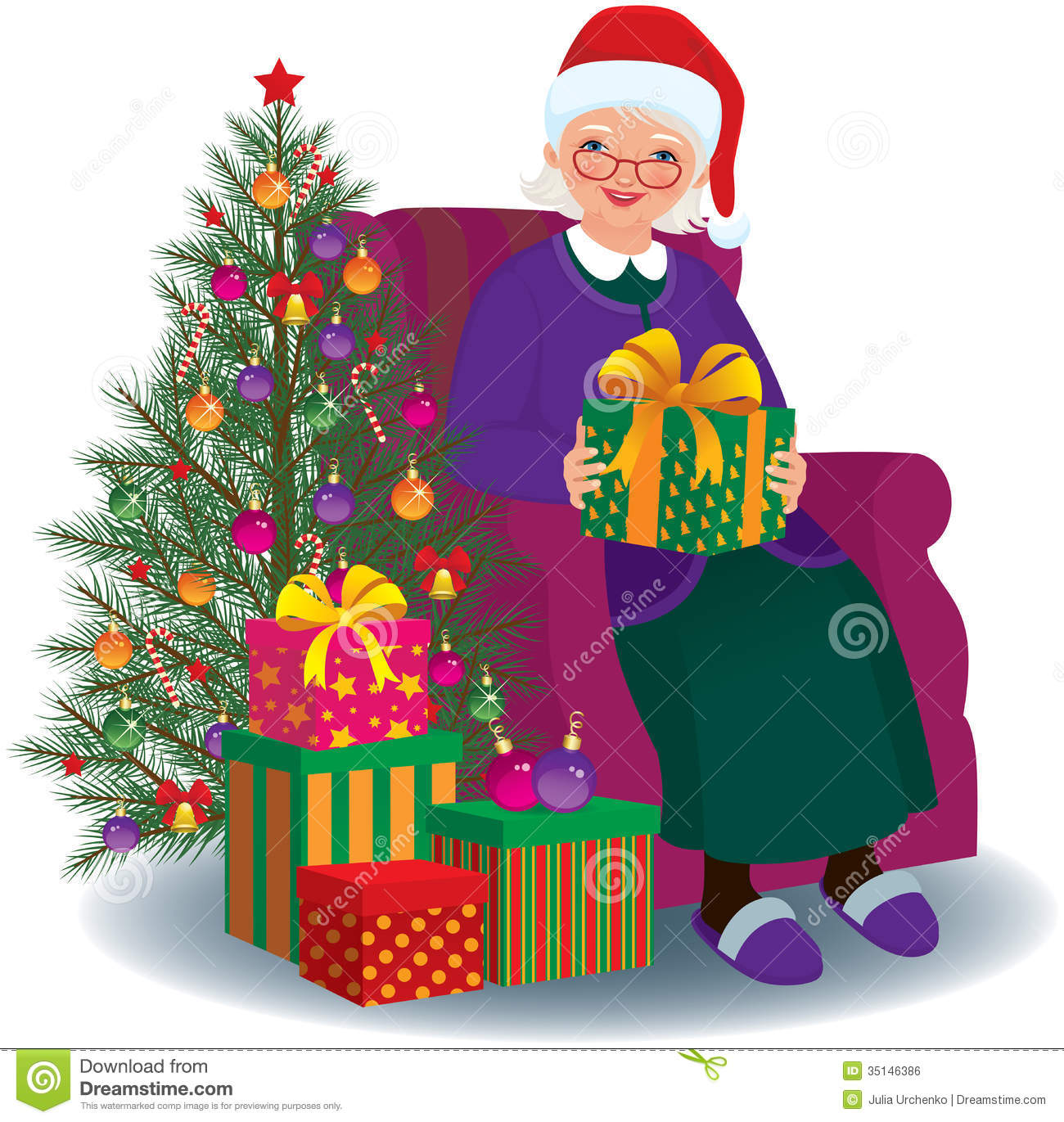 Old People Christmas Gifts: Christmas Gift For The Beloved Granny Royalty Free Stock