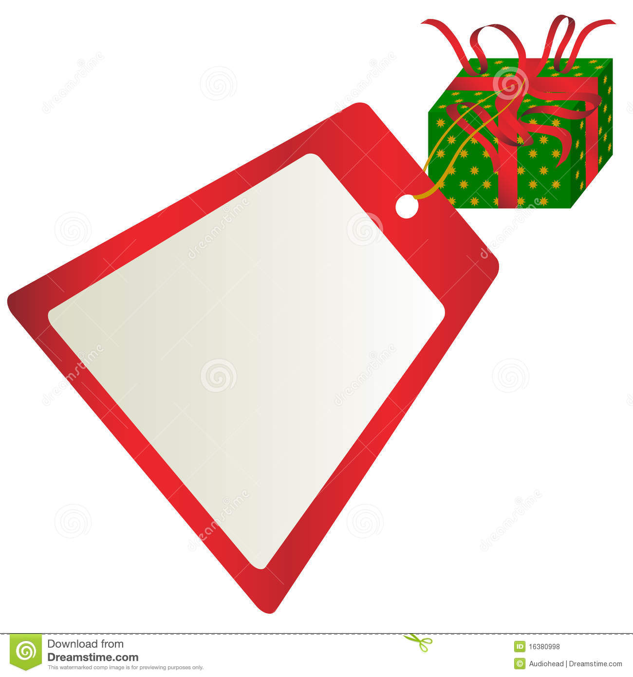 Christmas Gift With Tag With Copyspace on White Background / Vector.