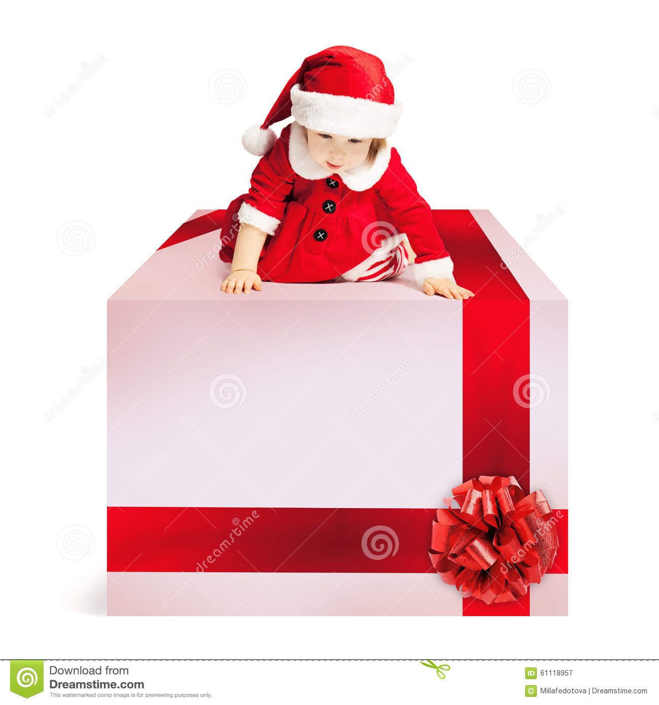 Christmas Gift Box And Baby In Santa Hat Stock Image - Image of ...