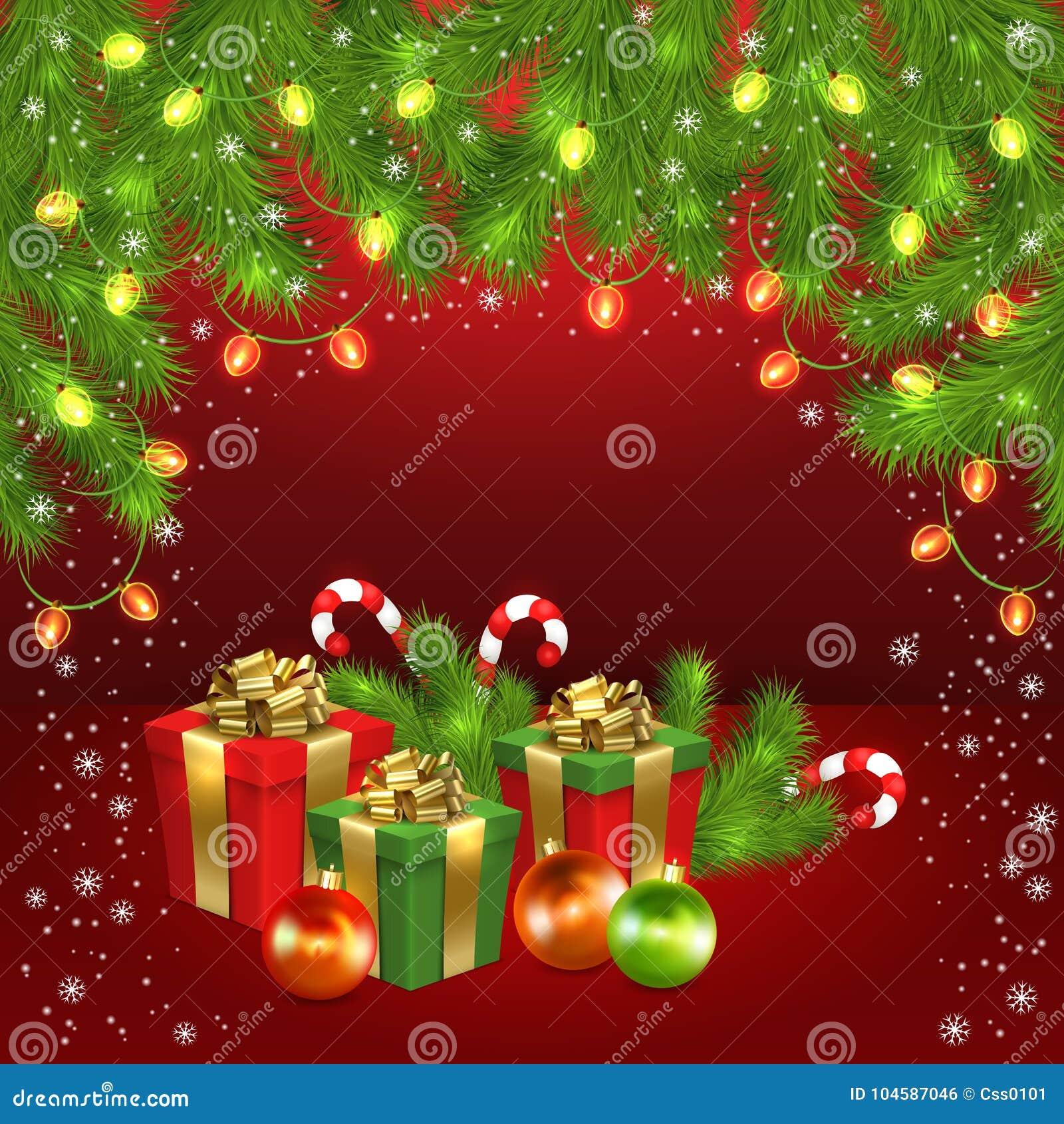 Christmas Gift Box Ball Candy Garland Fir Tree Stock Vector