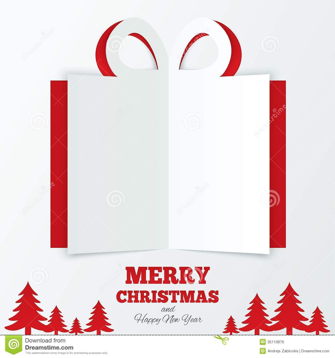 Christmas Gift Box Cut The Paper. Christmas Tree. Royalty Free Stock ...
