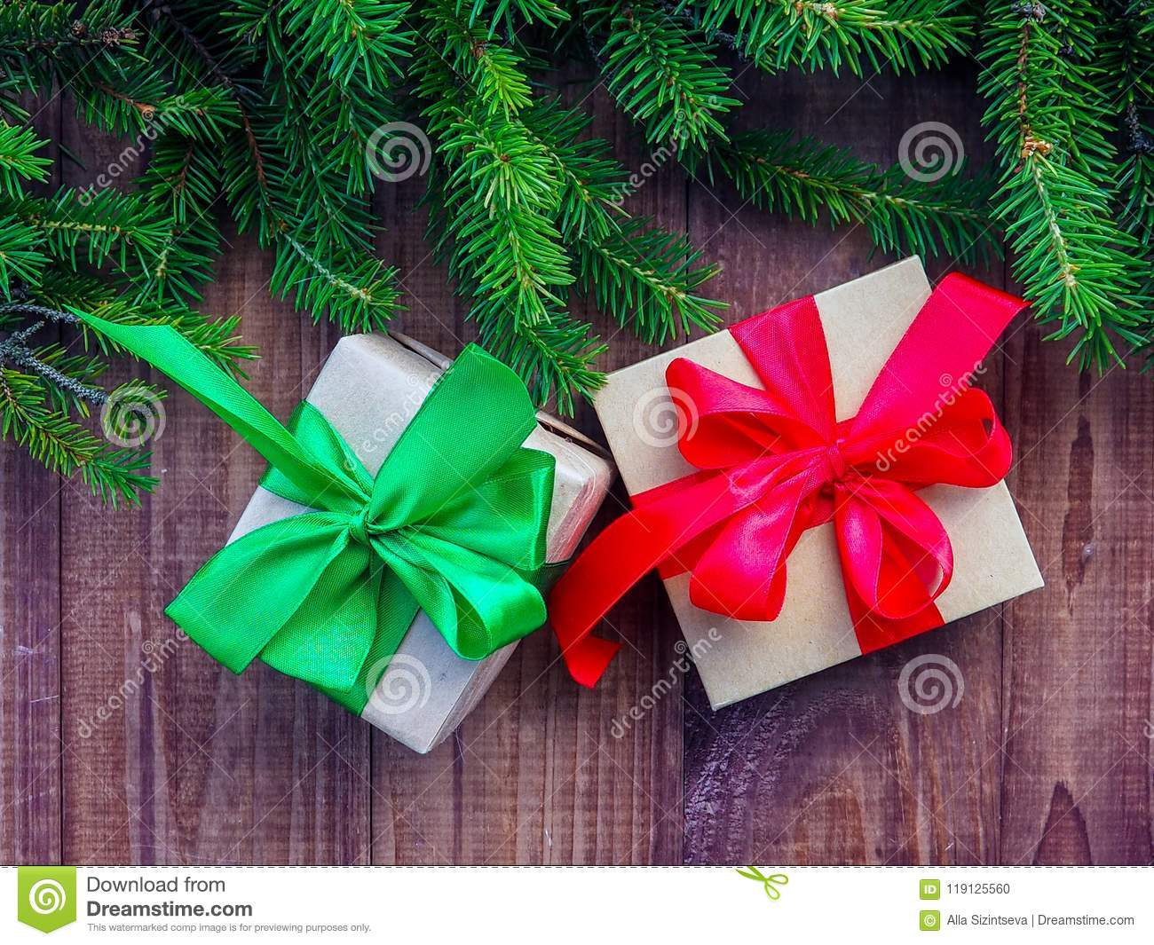 Christmas Gift Box With Decoration, Three Gift Boxes For Christmas ...