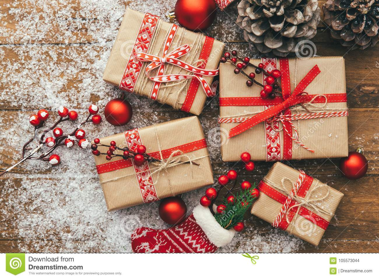 Christmas Gift Box And Decorations On Wooden Background Merry Christmas And Happy New Year Concept Stock Photo Image Of Holiday Berry 105573044