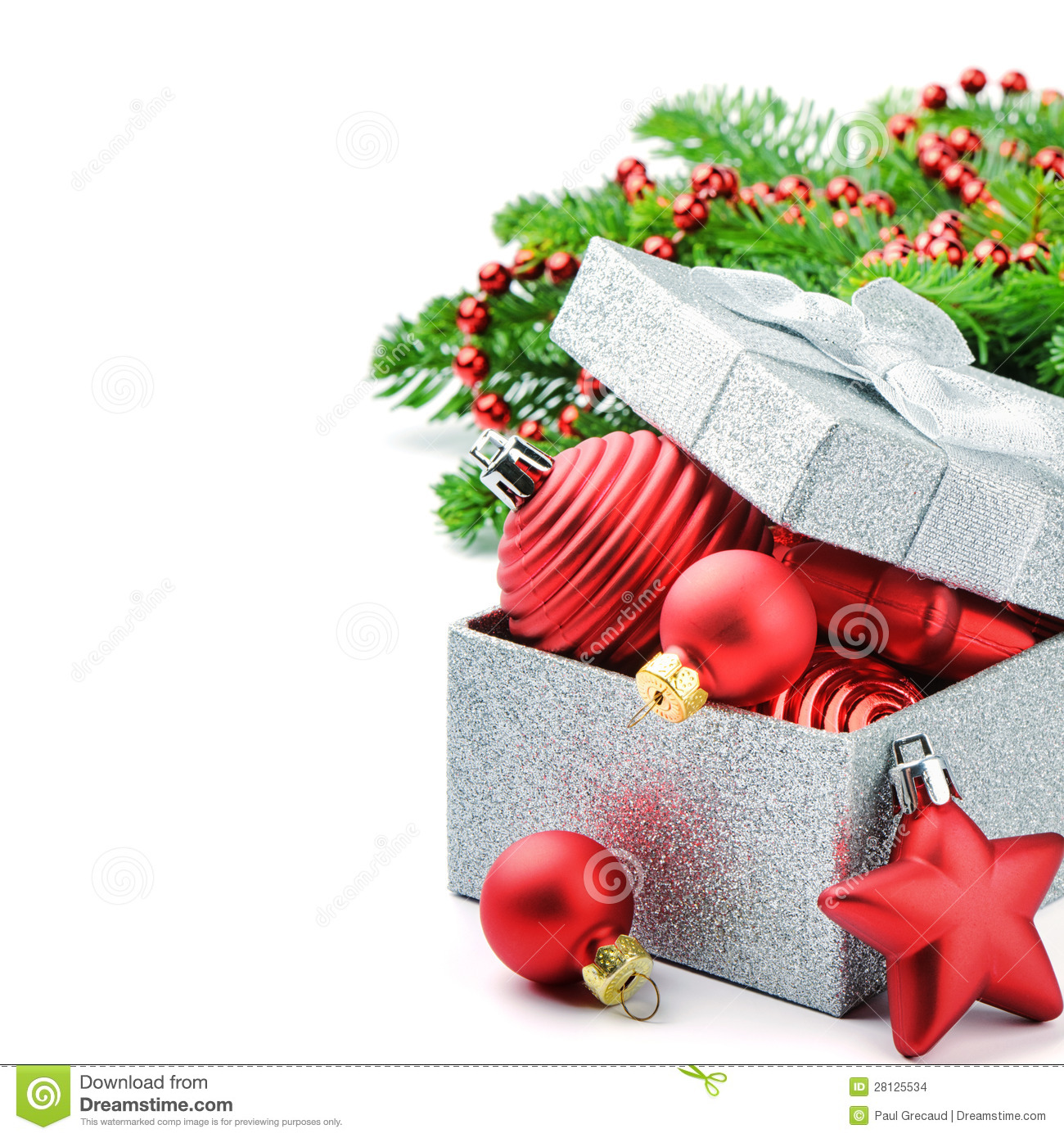 christmas gift box with festive decorations