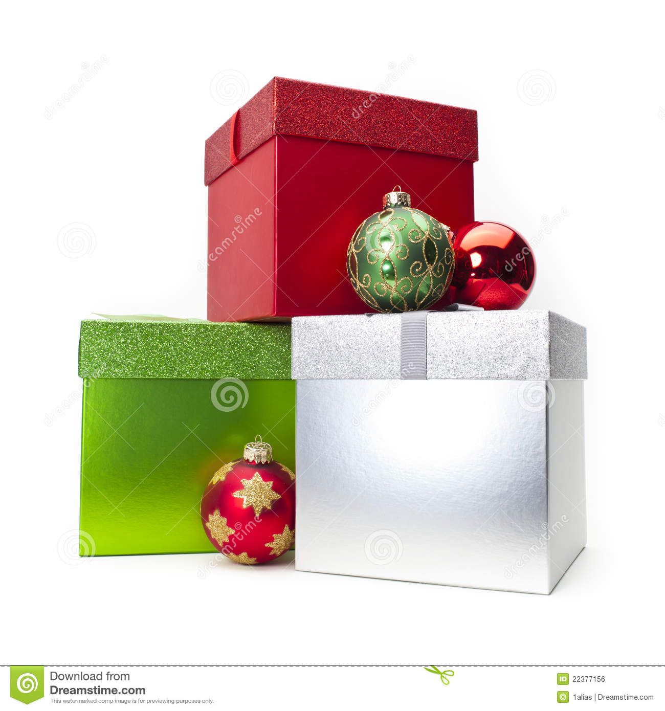 Christmas gift box ornaments stock photo image