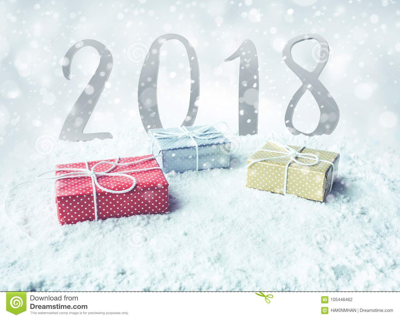 Christmas Gift Box,present On Snow With 2018 Background Stock Photo ...