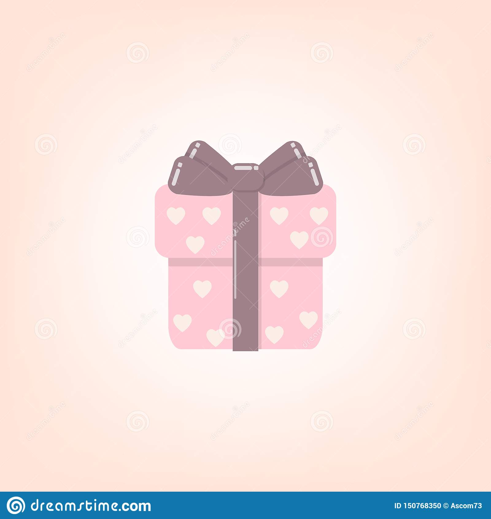 Christmas gift box with ribbon and bow vector icon for graphic design, logo, web site, social media, mobile app, ui illustration