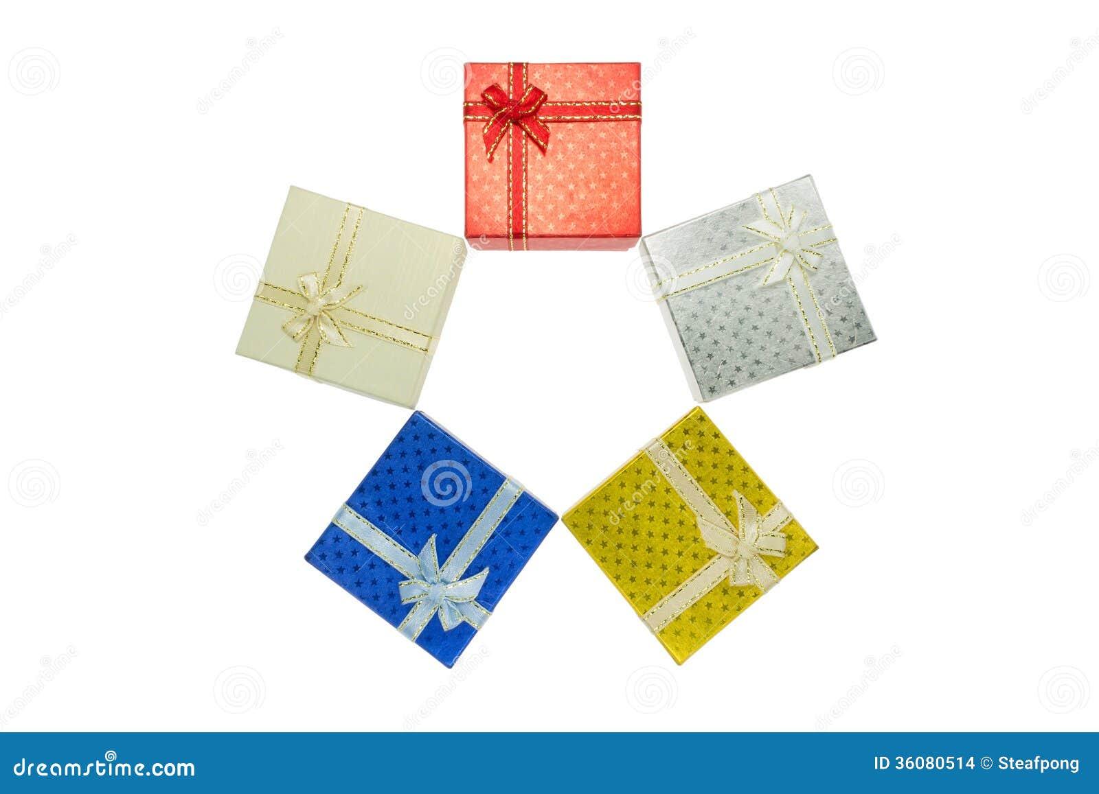 5 Christmas Gift Box Set In Bird\'s Eye View Stock Photo - Image of ...