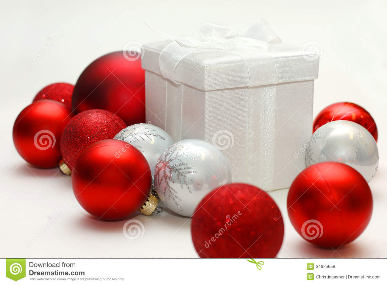 Christmas Gift Box Sitting Isolated With Red And Silver ...