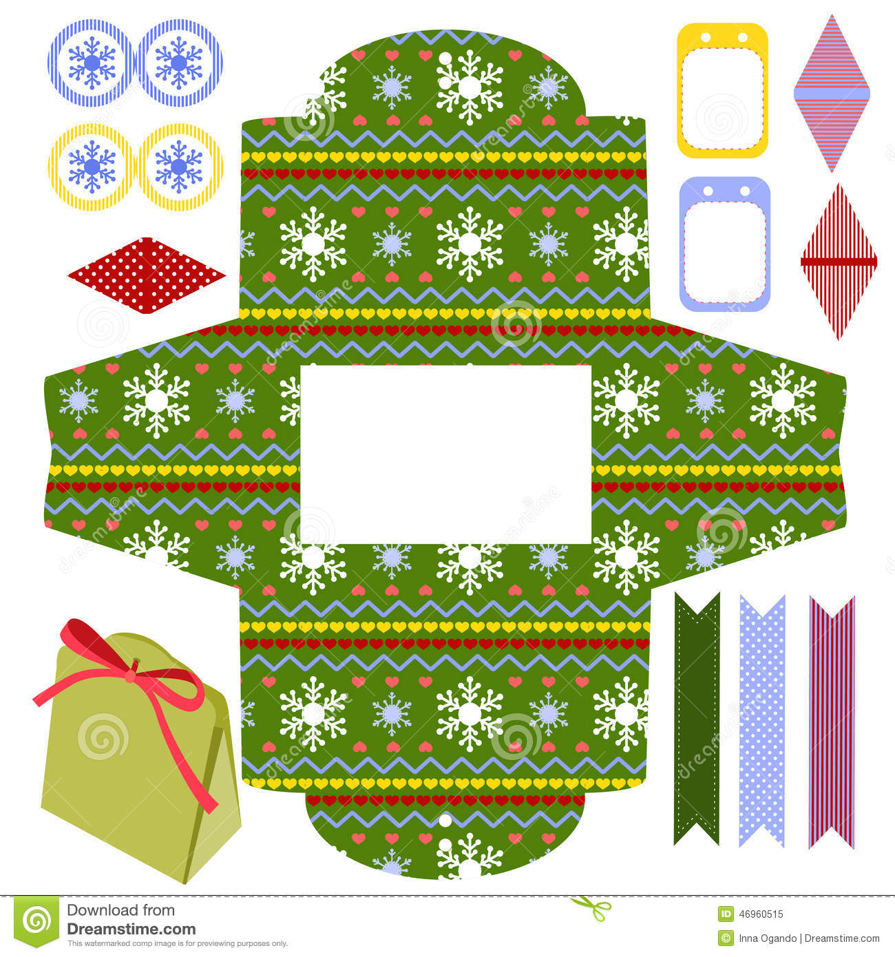 Christmas gift box template stock vector image