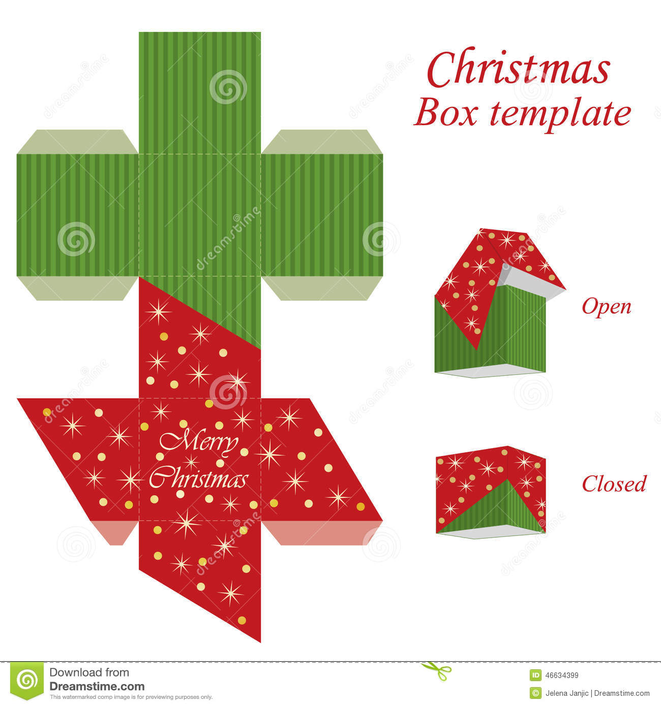 Christmas Gift Box Template.Christmas Gift Box Template Stock Vector Illustration Of