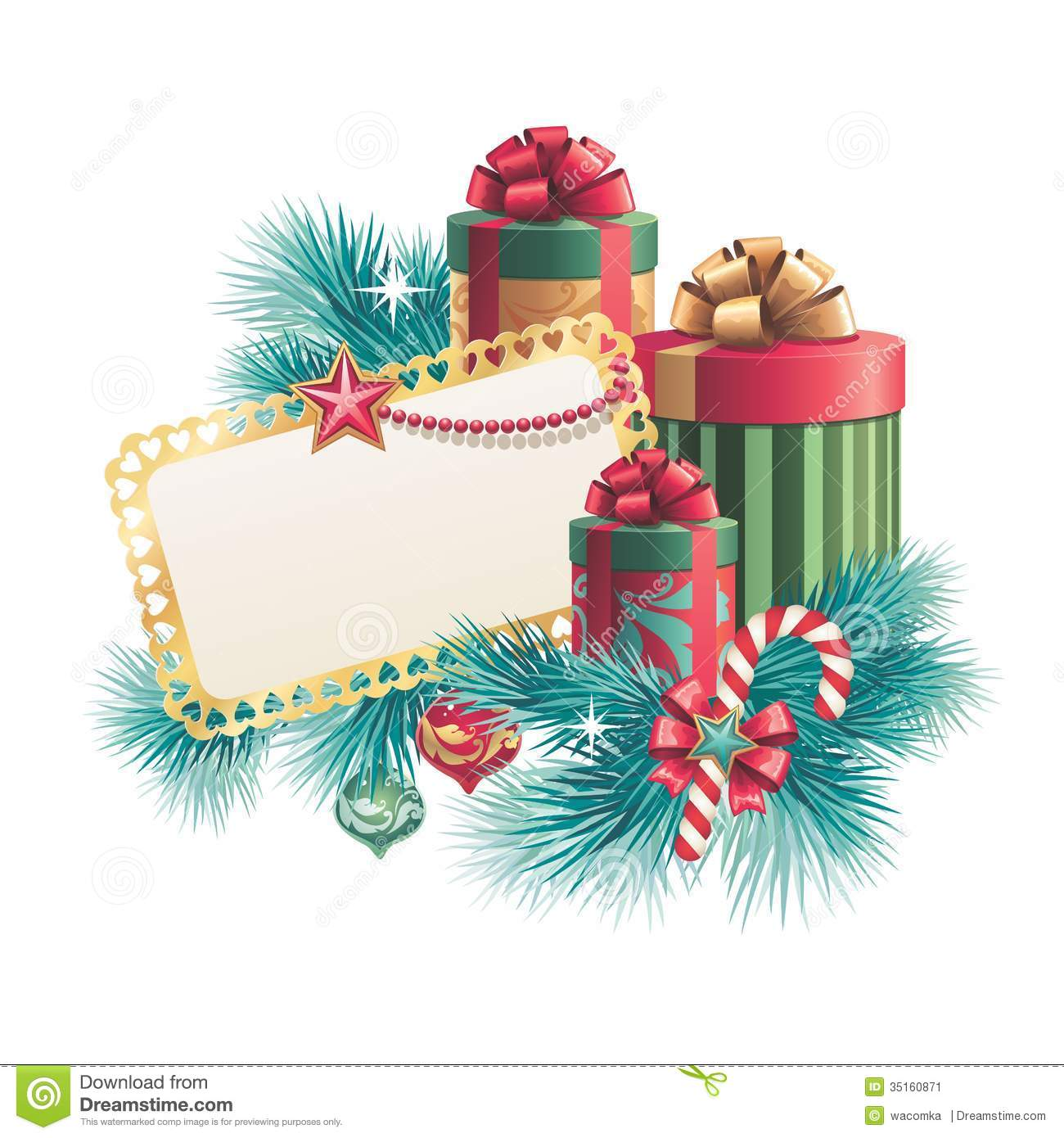 Christmas Gift Boxes With Blank Greeting Card Stock Illustration ...