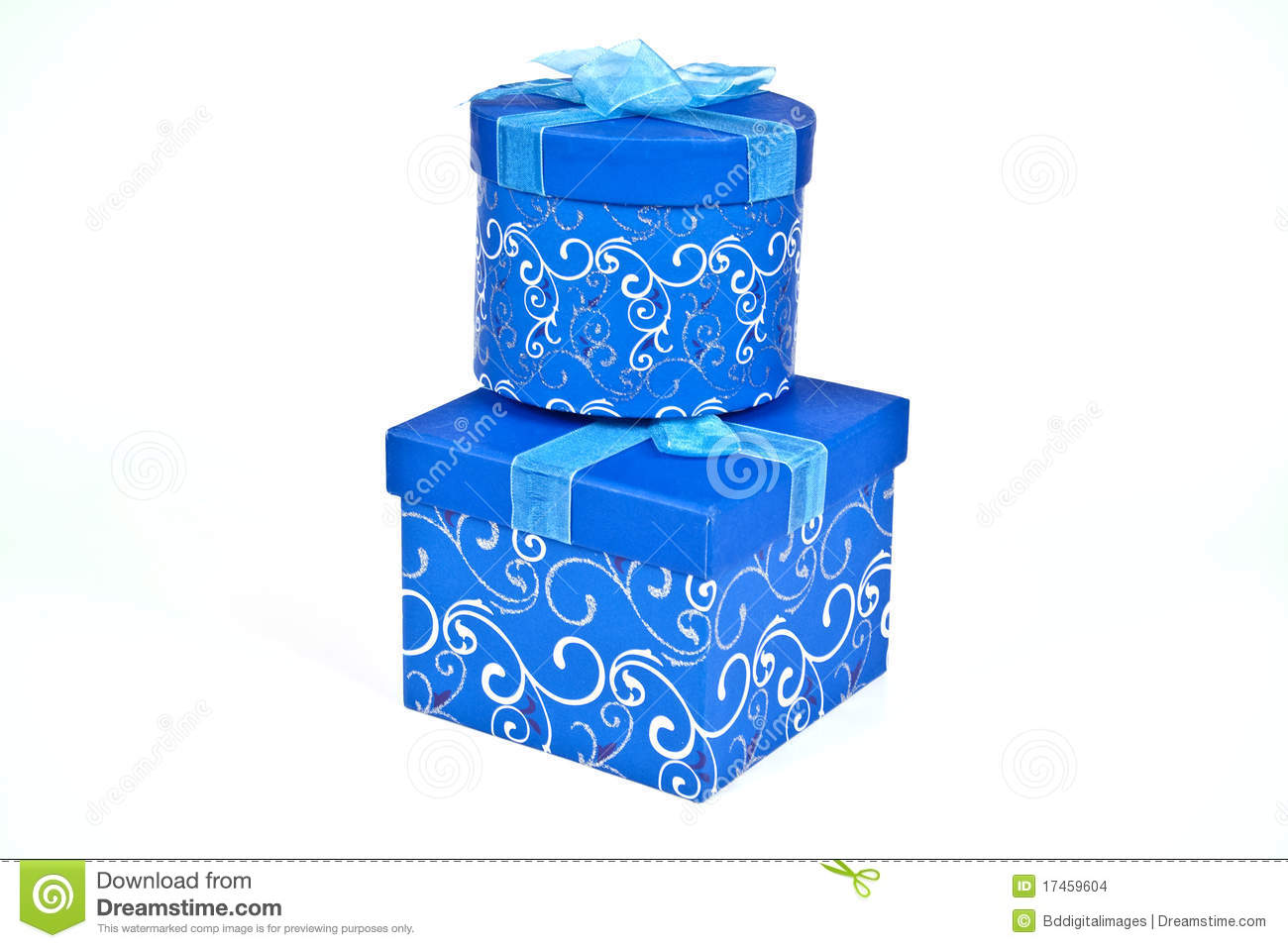 Christmas gift boxes in blue stock images image