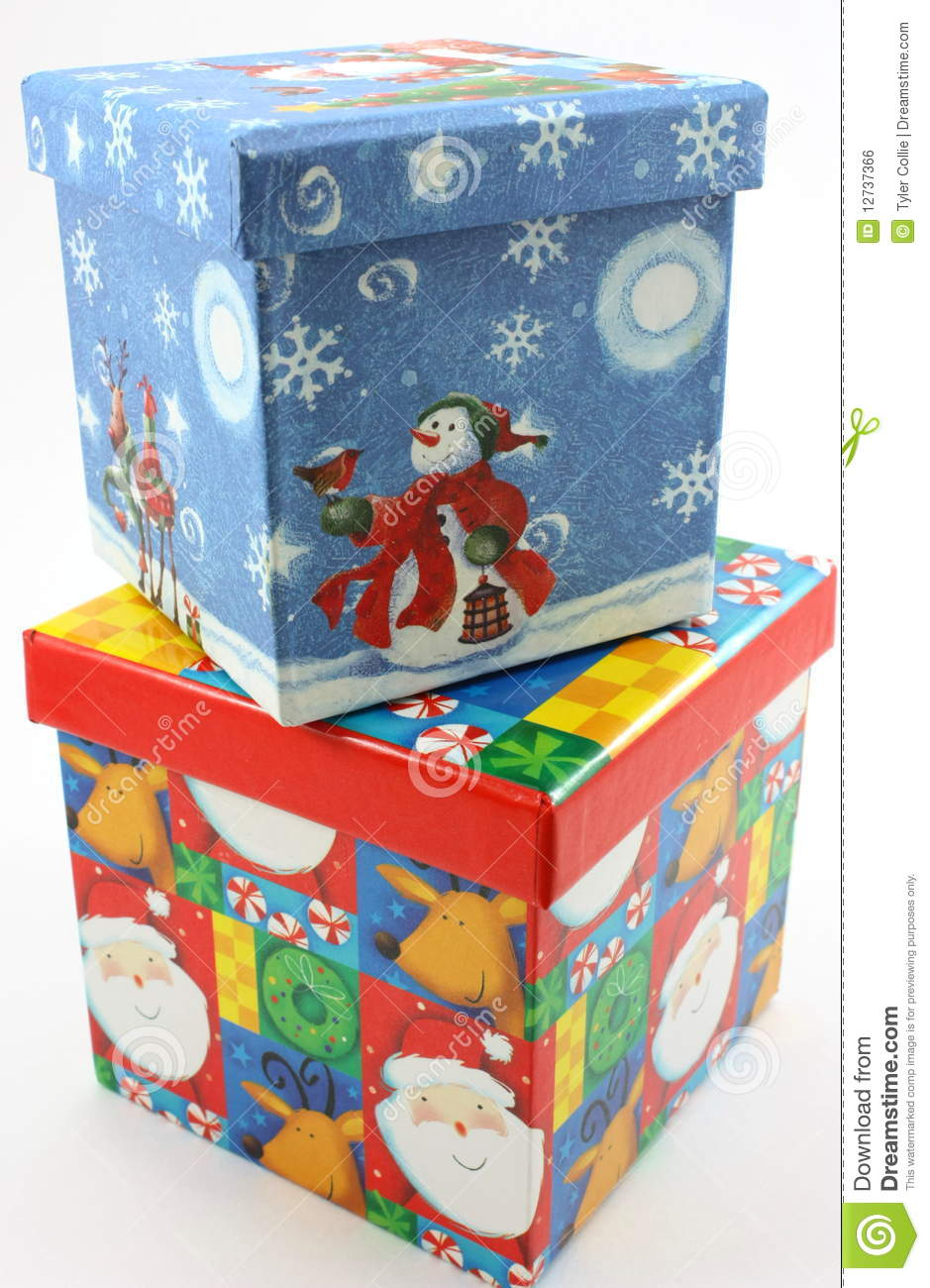 Christmas gift boxes blue and red stacked royalty free