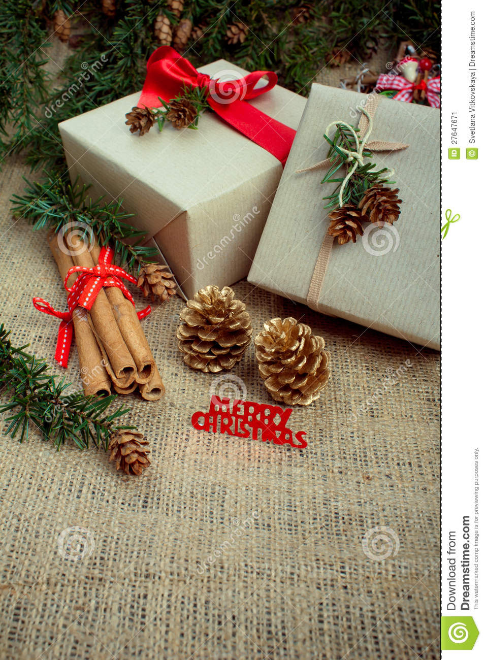 christmas gift boxes and decorations rustic style