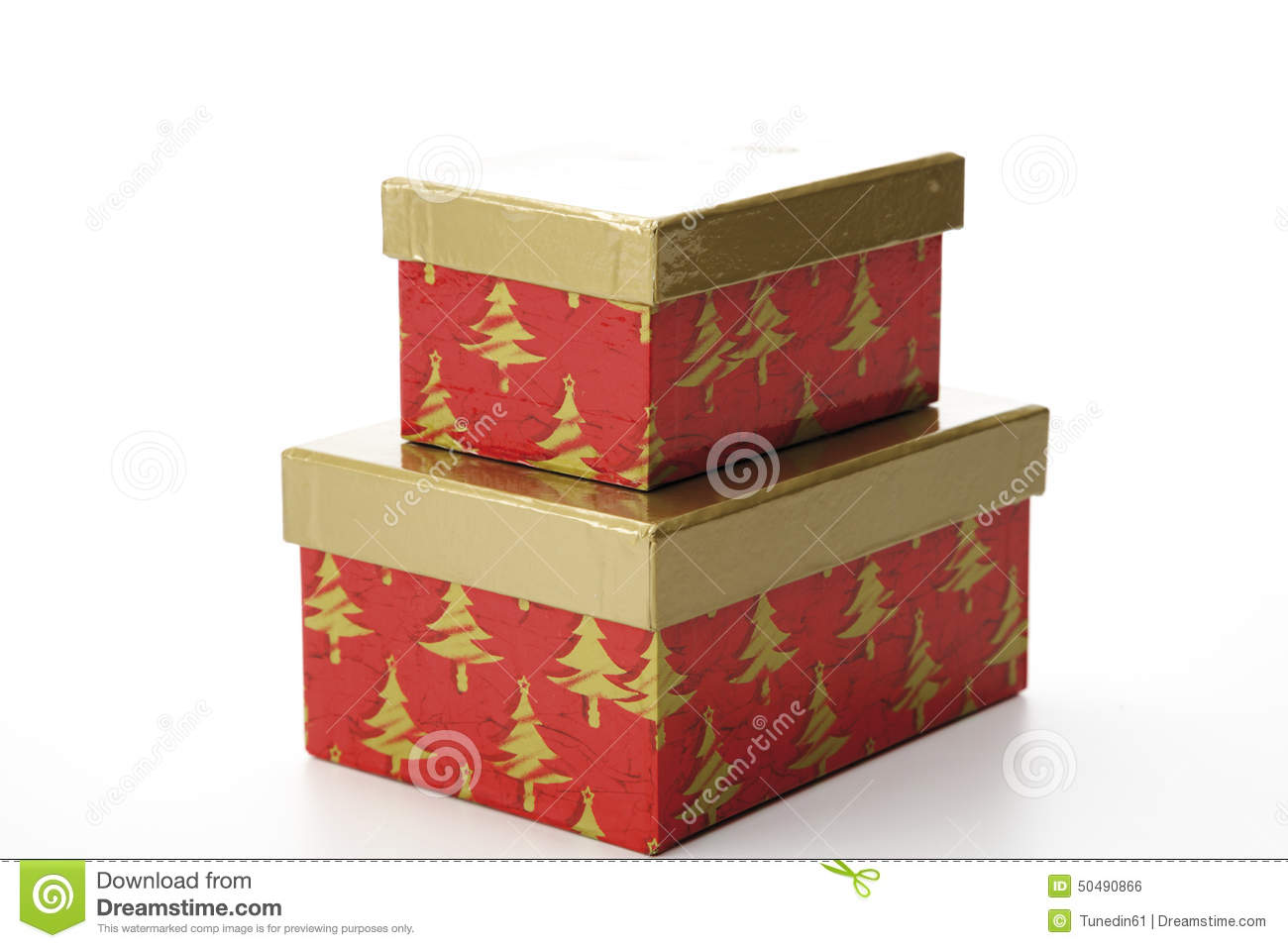 Christmas Gift Boxes With Separate Lid Stock Photo Image Of Event