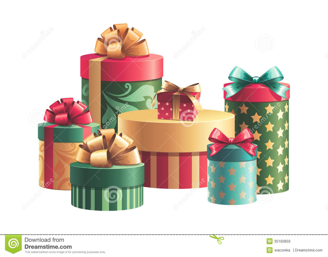 Christmas gift boxes stack isolated stock illustration