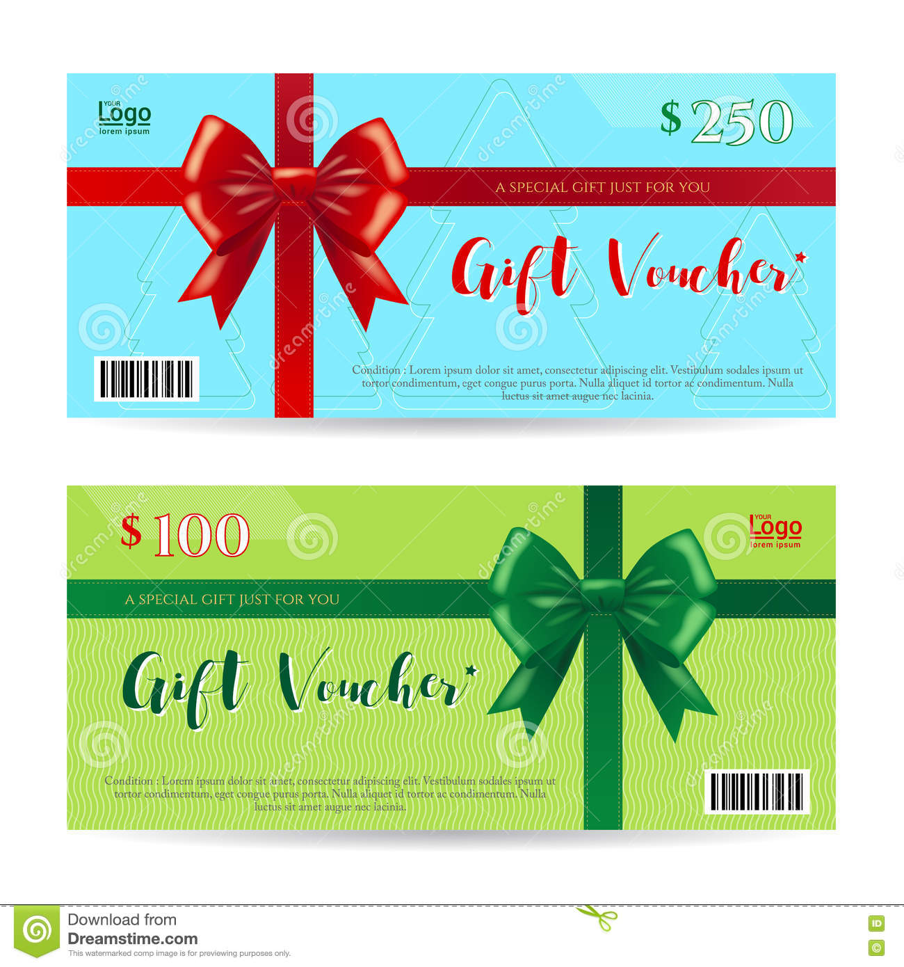 Christmas Gift Card Or Gift Voucher Template Vector Image – Present Voucher Template