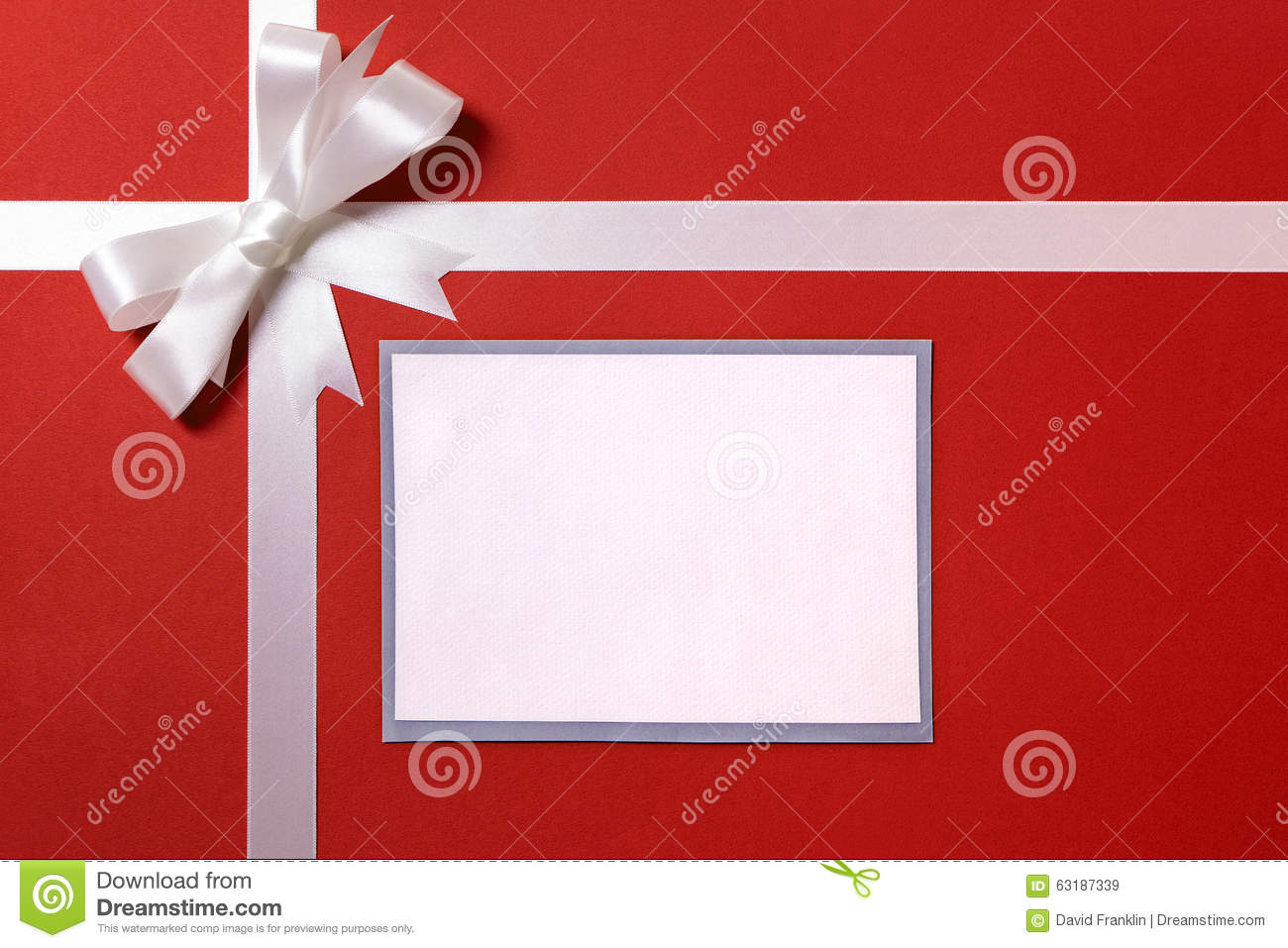 christmas gift card or label and envelope white ribbon bow red