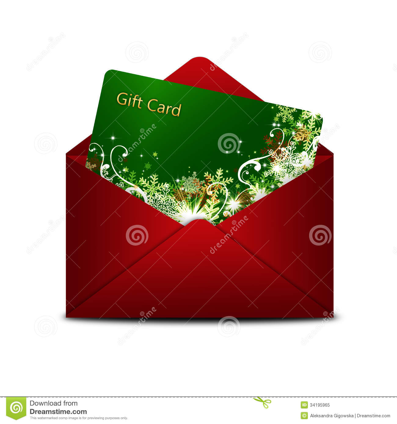 Christmas gift card in red envelope over white stock for Christmas ideas for christmas cards