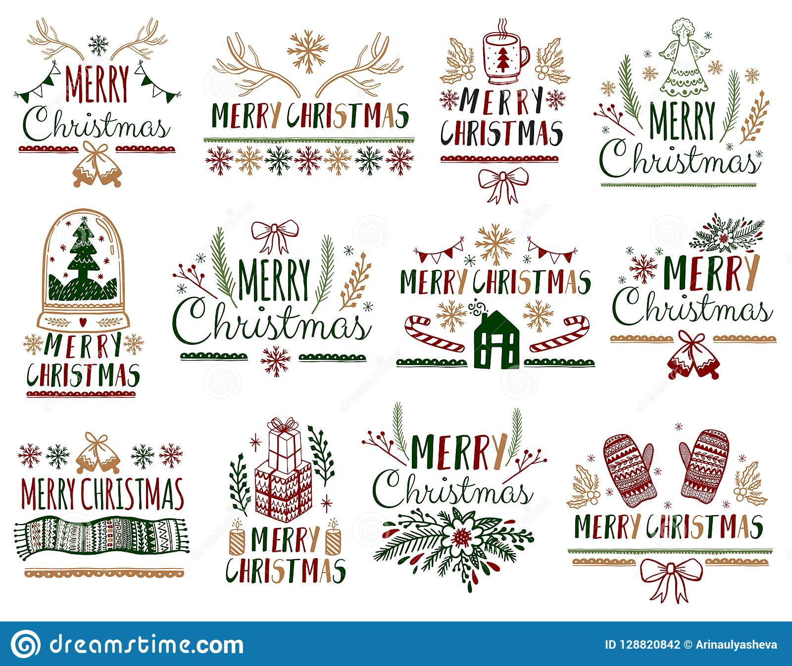 christmas gift cards posters set typography decoration holiday