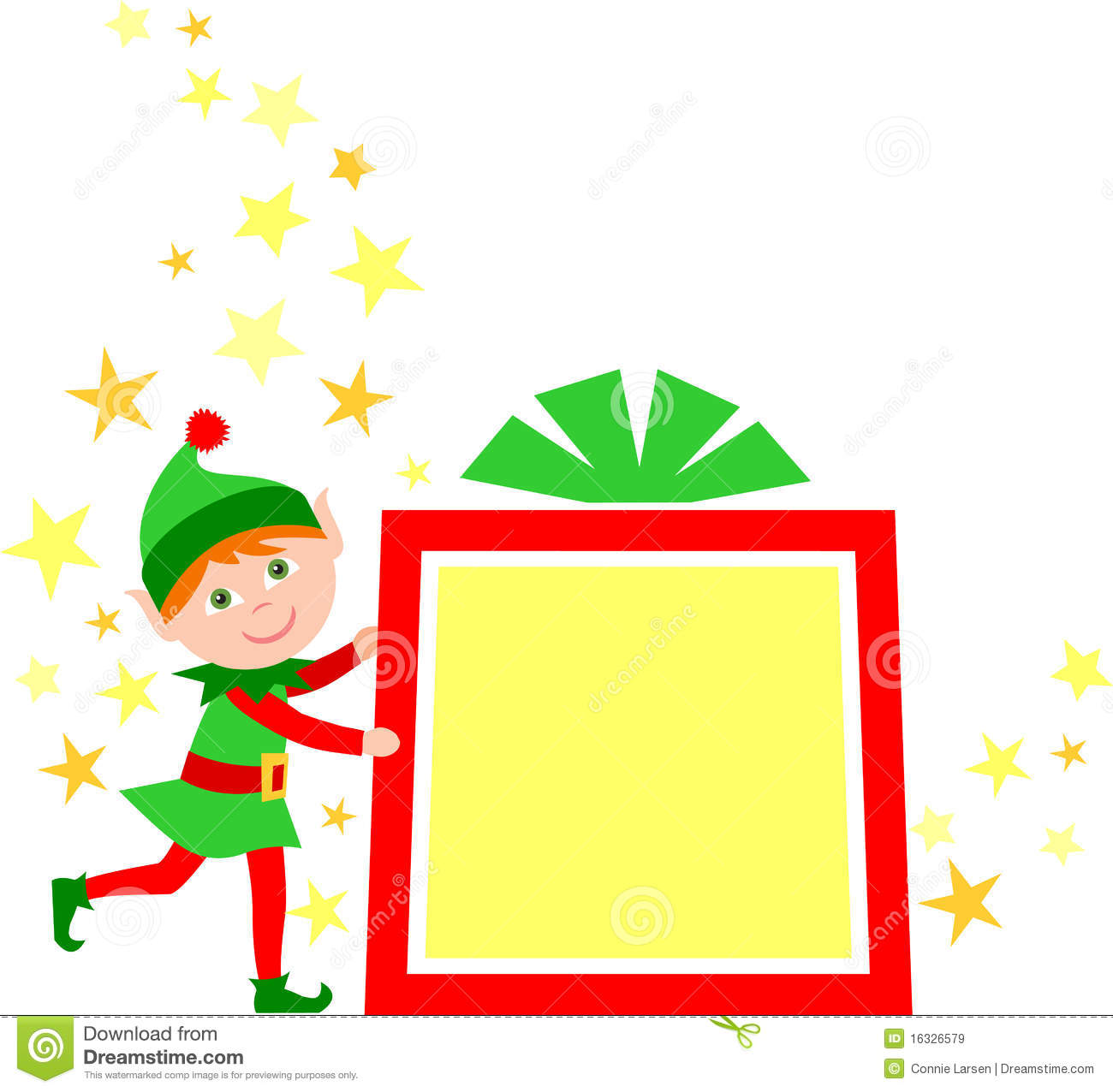 ... gift package...one of a set of eight matching elves in my portfolio