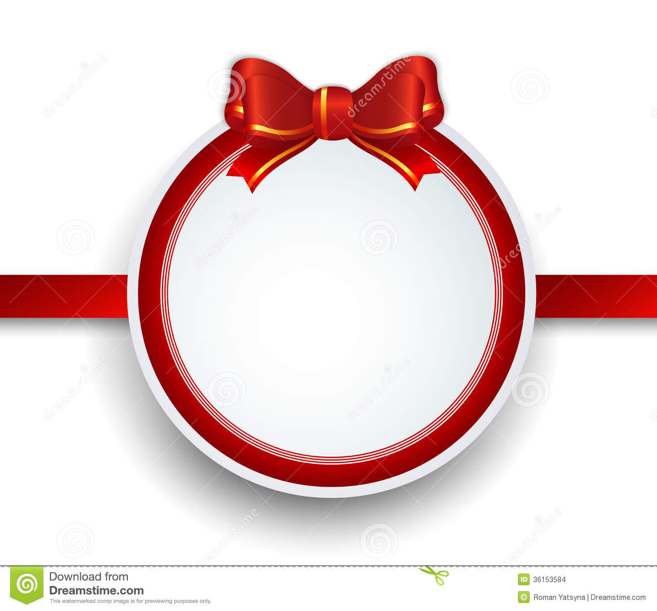 Christmas Gift Frame With Red Ribbon And Bow Stock Vector