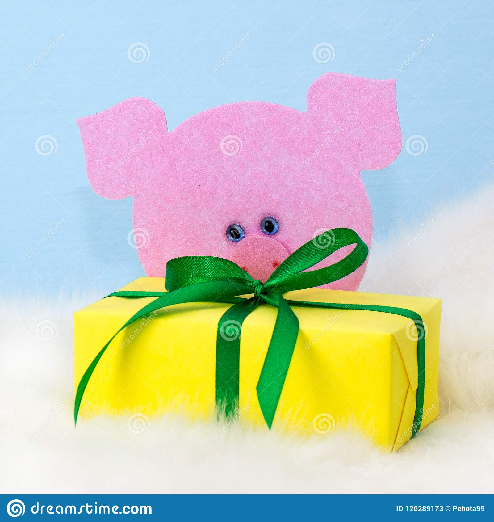Christmas Gift Funny Pink Piggy Symbol Chinese New Year Stock Image ...