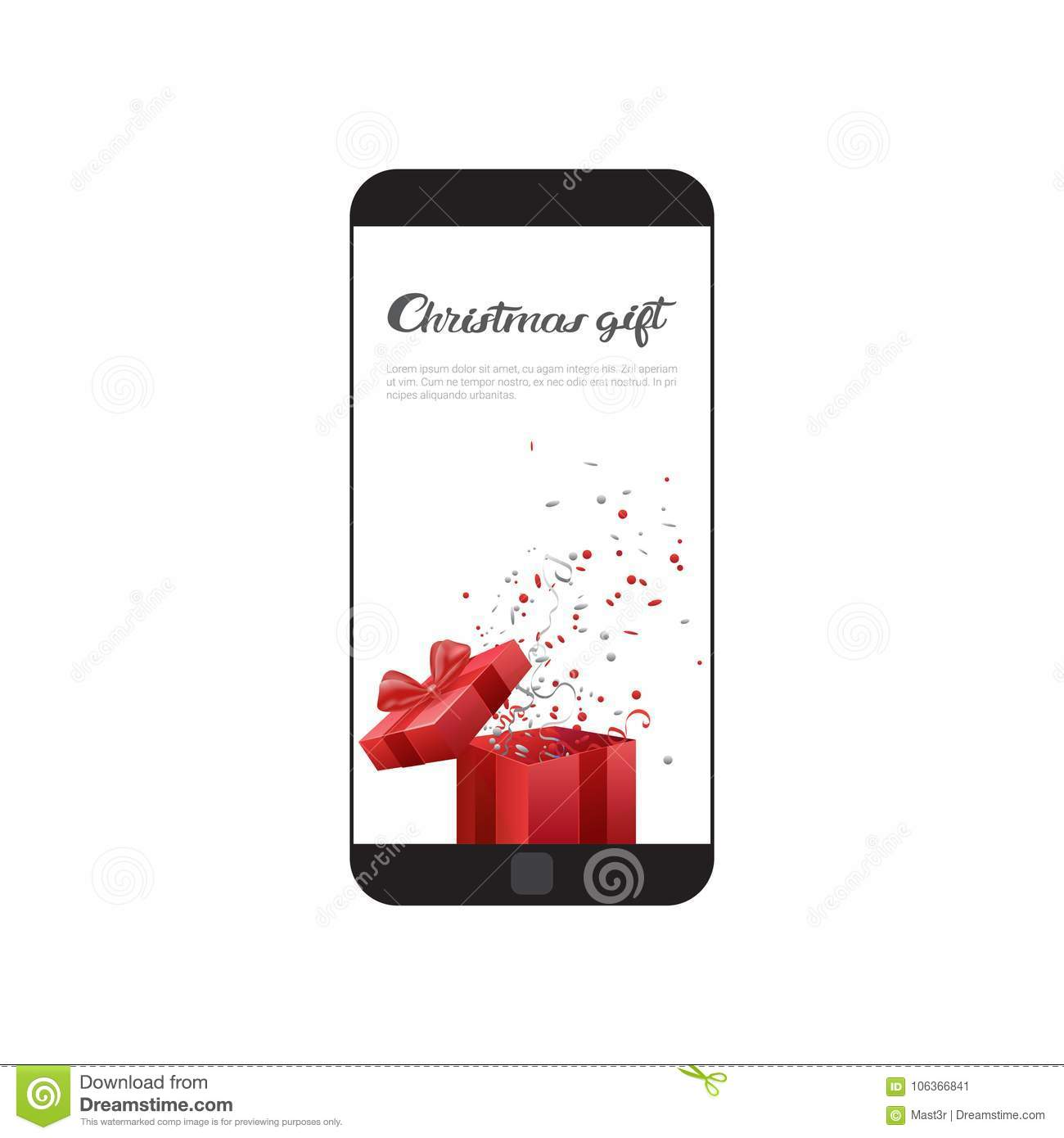Christmas Gift Message On Modern Cell Smart Phone Web Holiday