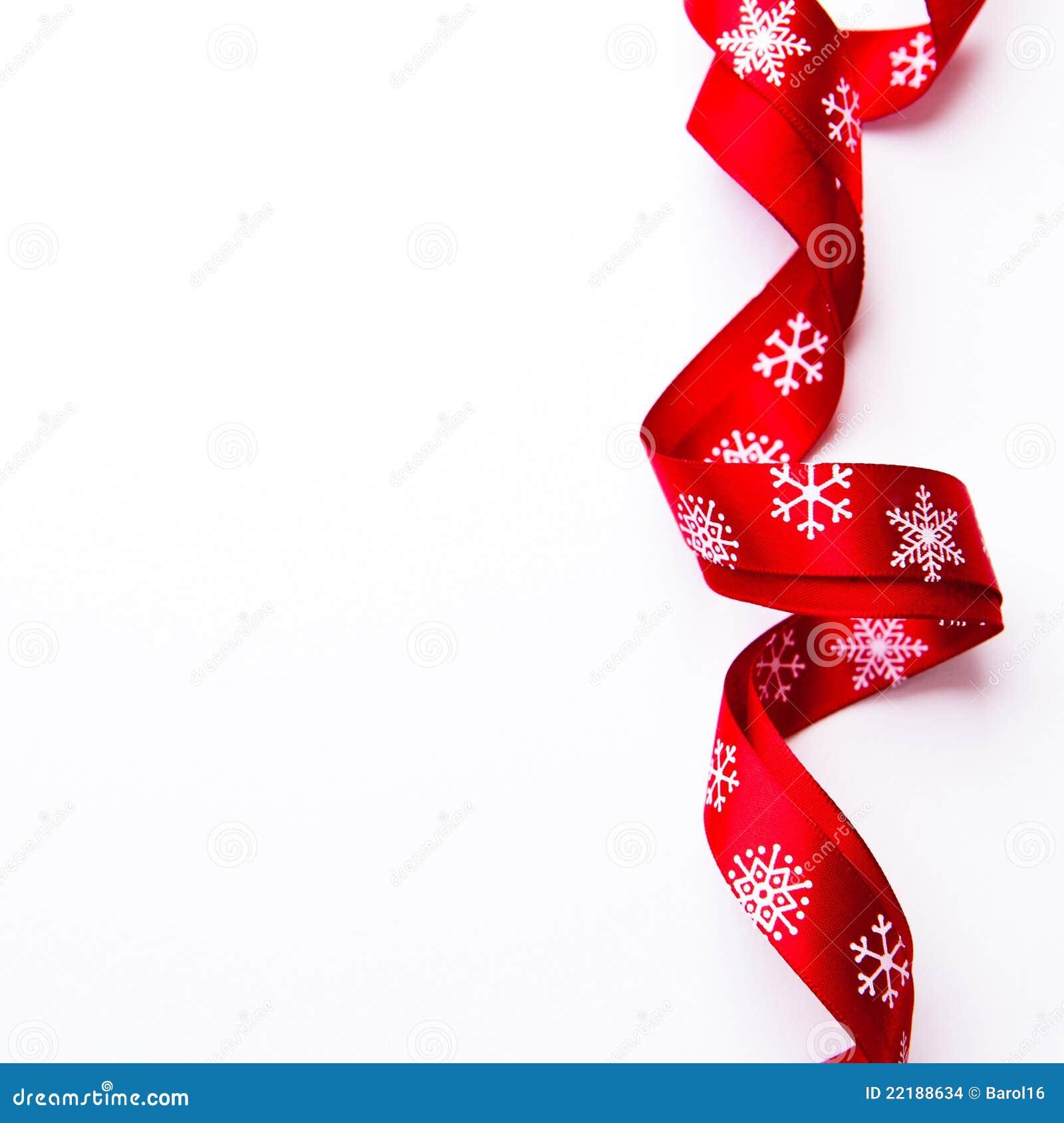 Christmas gift ribbon on white background