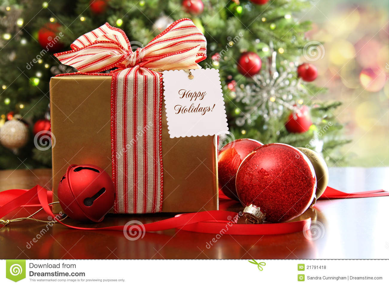 Christmas gift sitting on a table royalty free stock - Table gifts for christmas ...