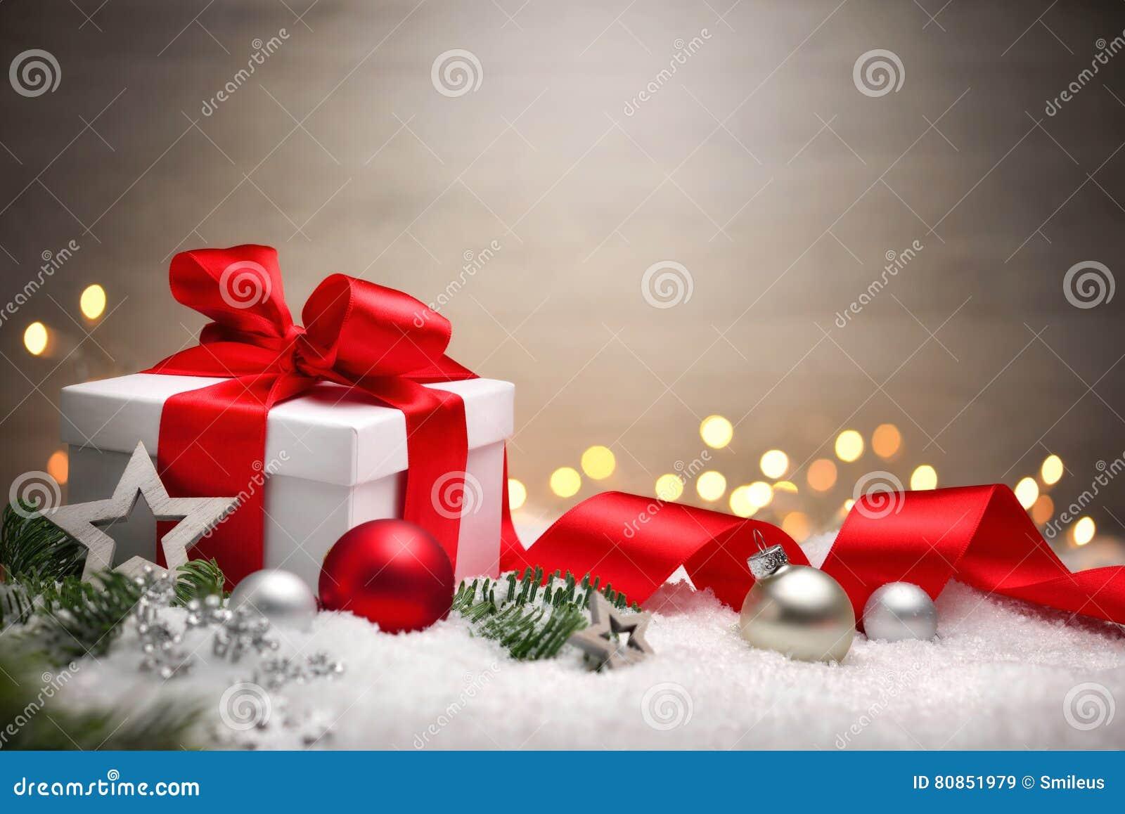 christmas gift in snow elegant background stock image. Black Bedroom Furniture Sets. Home Design Ideas
